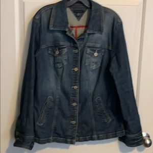Long denim jacket with blazer detail back